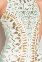 Load image into Gallery viewer, Sequins dress mint and gold
