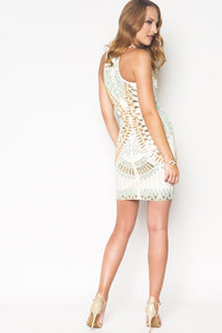 Sequins dress mint and gold