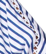 Load image into Gallery viewer, Boat neck navy stripe top