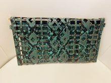 Load image into Gallery viewer, Green Snakeskin Geometrical Clutch