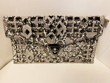 Load image into Gallery viewer, Grey Snakeskin Geometrical Purse