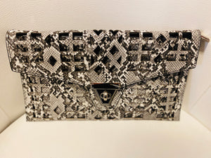 Grey Snakeskin Geometrical Purse