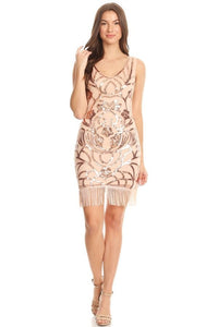 Pink Champagne Sleeveless Short Sequins Dress