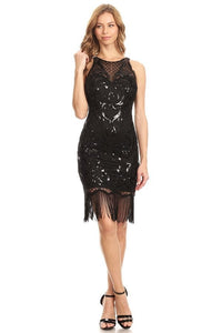 Black Sleeveless Sequins Dress