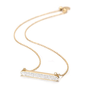 Necklace with Crystal Square Bar