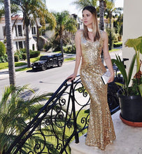 Load image into Gallery viewer, Long Sleeveless Gold Sequins Dress
