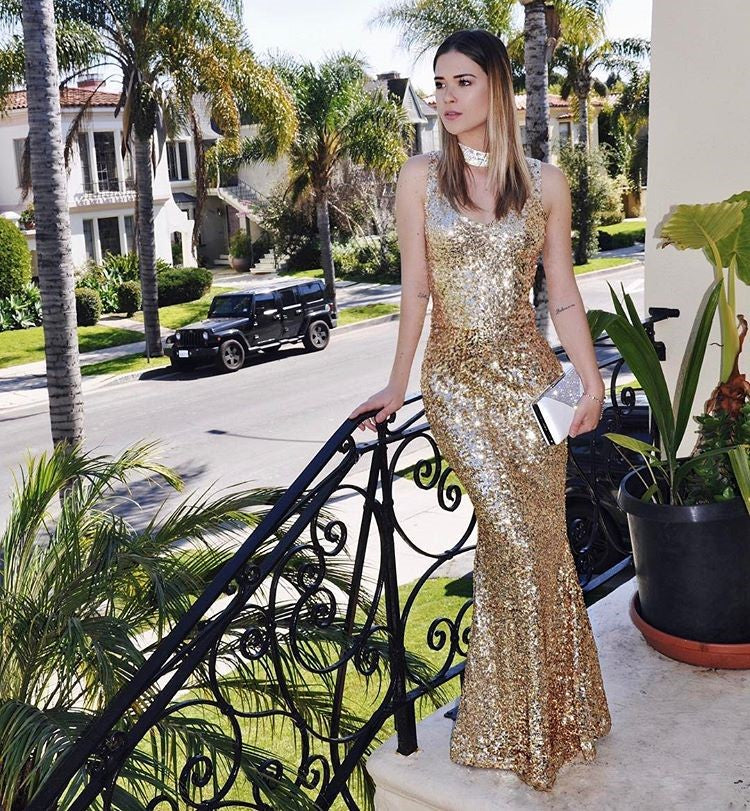 Long Sleeveless Gold Sequins Dress