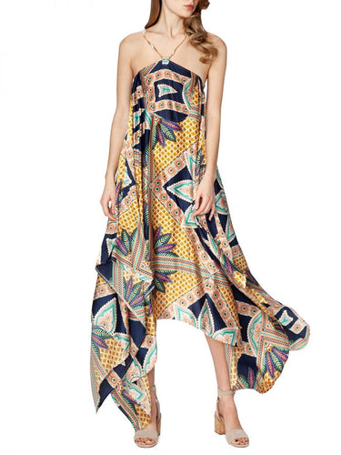 Long Geometry Printed Gold String Dress