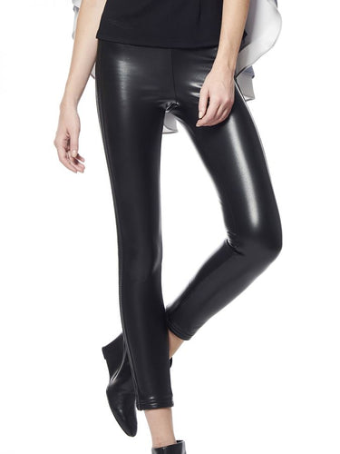 Black Leather Band leggings
