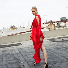 Load image into Gallery viewer, Red Silk Maxi Romper