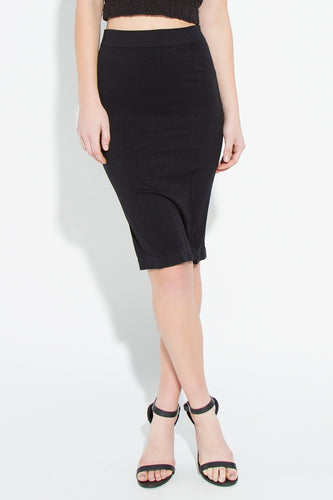 Black Seamless Knee lenght skirt