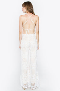 Elegant White Crochet Jumpsuit