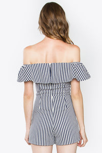 Navy Stripe Off The Shoulder Romper