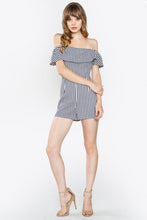 Load image into Gallery viewer, Navy Stripe Off The Shoulder Romper