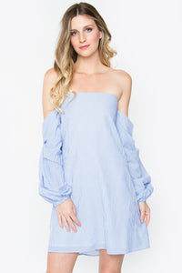 Light Blue Striped Off The Shoulder Dress