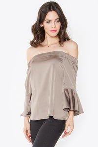 Olive Off The Shoulder Ruffle Top