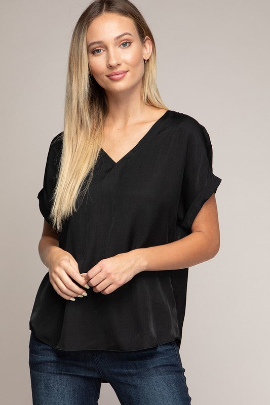 Rolled Sleeve Blouse