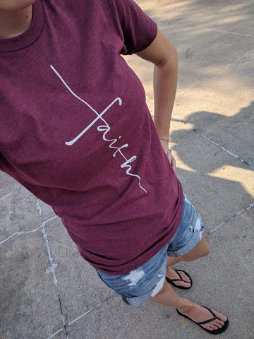 Faith Tee - Burgundy