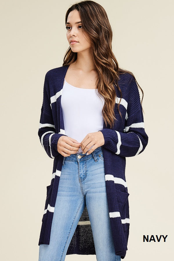 Long Striped Cardi