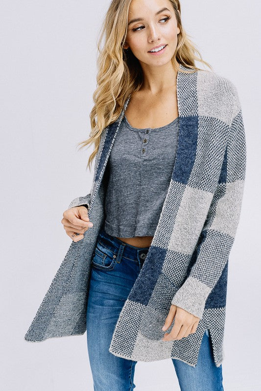 Plaid Open Front Cardigan