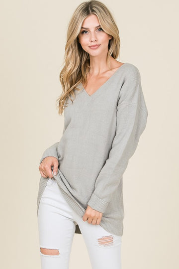 Cuffed V-Neck Sweater