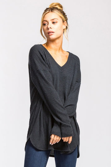 V-Neck Sweater - Charcoal