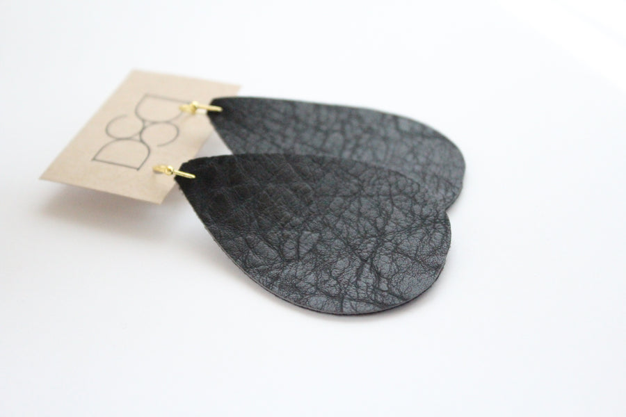 Natural Black Faux Leather Earrings