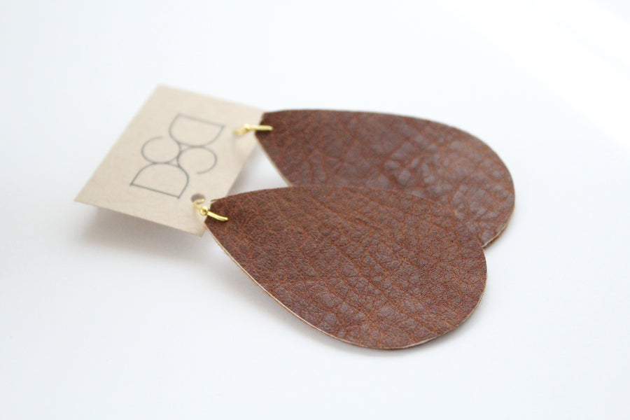 Natural Brown Faux Leather Earrings