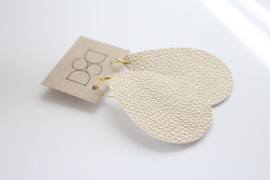 Light Gold Leather Earrings