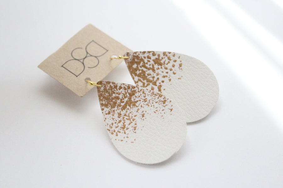 White & Gold Splatter Leather Earrings