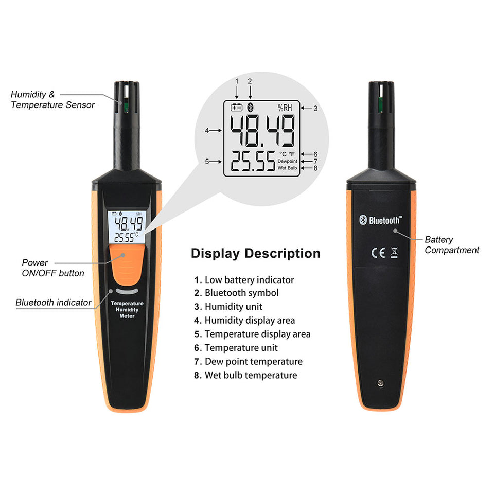 HT-801 Bluetooth Temperature And Humidity Meter - shopxintest