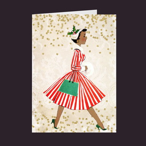 Vintage Series AA Lady w/Red Striped Dress & Fur Muff Holiday Card