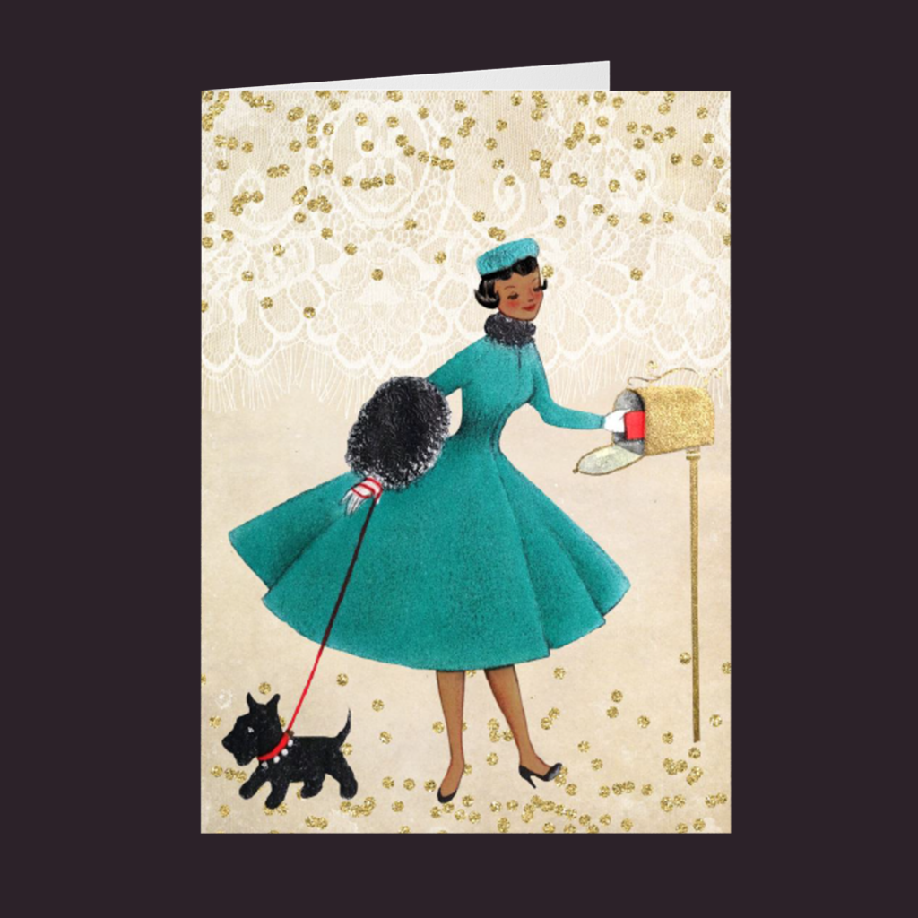 Vintage Series AA Woman in Green Dress w/Scottie Holiday Card