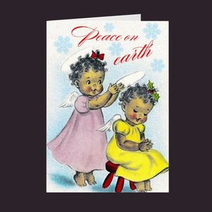 Vintage Series Peace on Earth Two Lil Angel Girls Holiday Card
