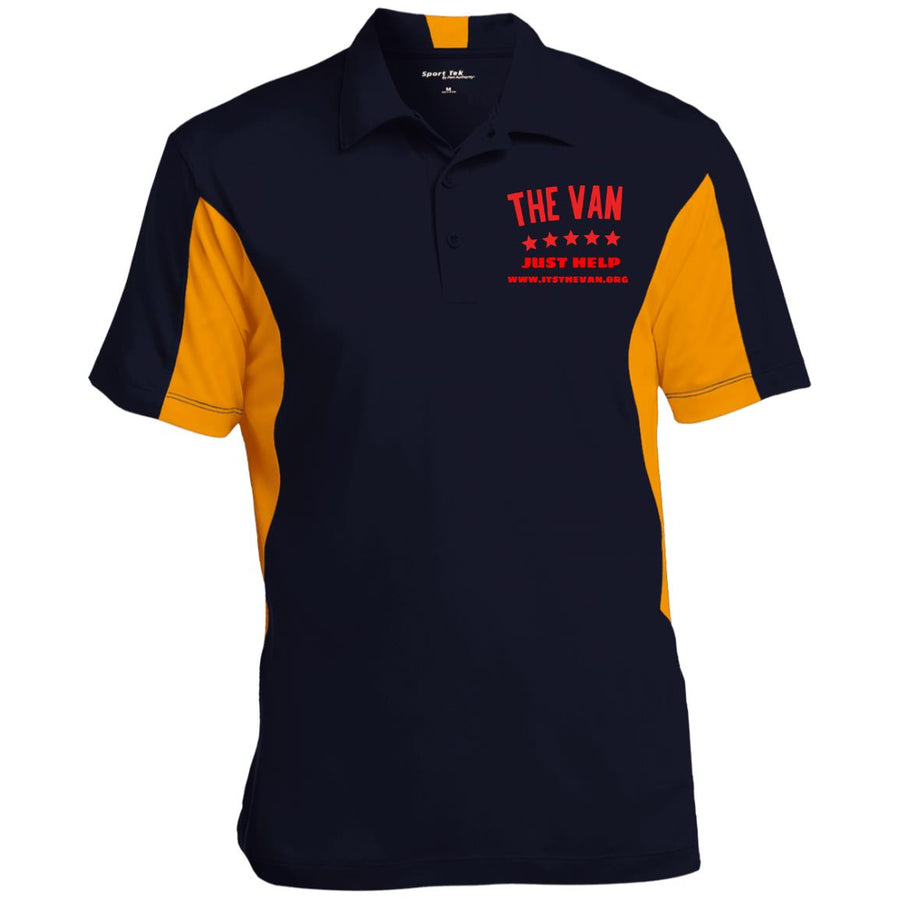 The Van Red Logo ST655 Men's Colorblock Performance Polo