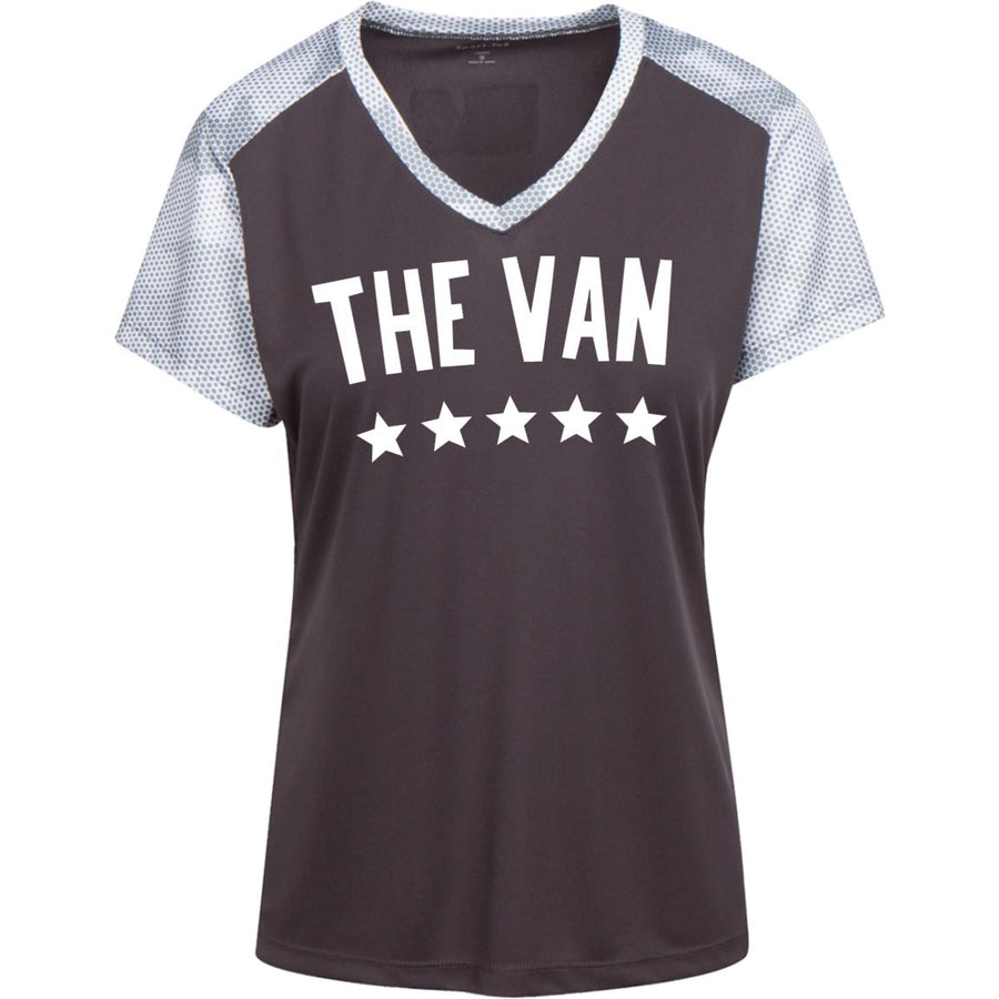 The Van White Logo LST371 Ladies' CamoHex Colorblock T-Shirt