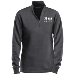 The Van White Logo LST253 Ladies' 1/4 Zip Sweatshirt (White)