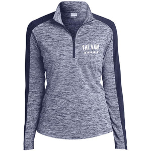 The Van White Logo LST397 Ladies' Electric Heather Colorblock 1/4-Zip Pullover
