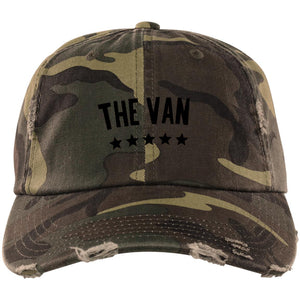 The Van Black Logo DT600 Distressed Dad Cap
