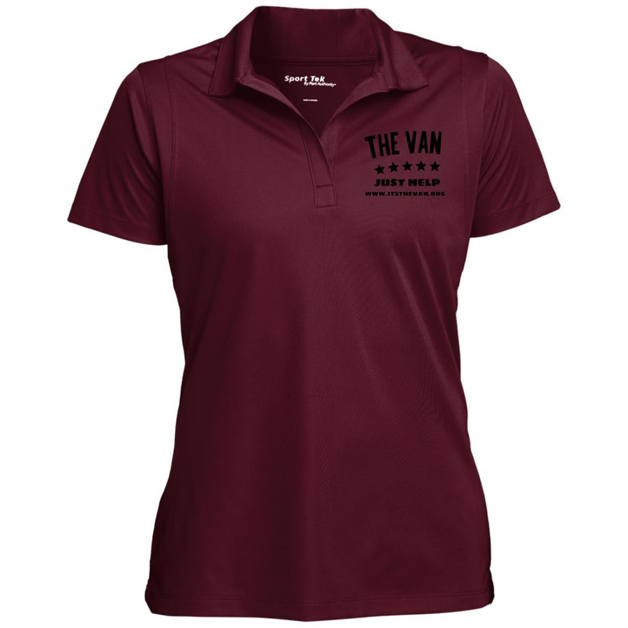 The Van Black Logo LST650 Women's Micropique Tag-Free Flat-Knit Collar Polo