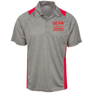 The Van Red Logo ST665 Heather Moisture Wicking Polo