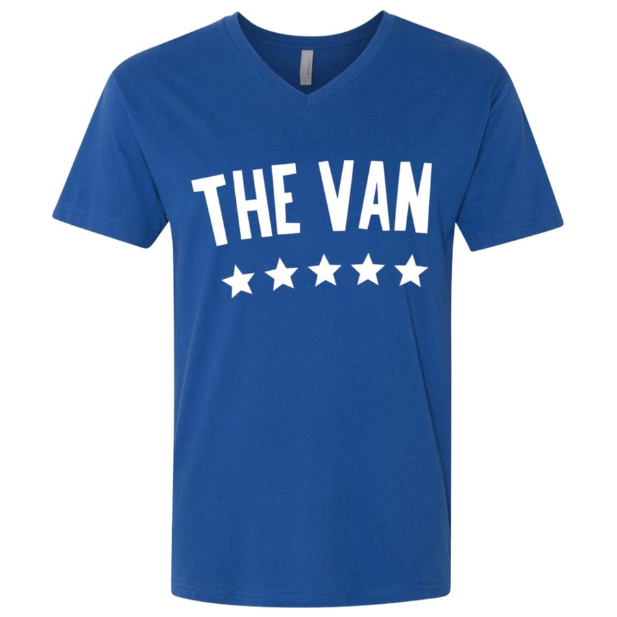 The Van White Logo NL3200 Men's Premium Fitted SS V-Neck