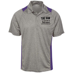 The Van Black Logo ST665 Heather Moisture Wicking Polo