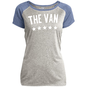 The Van White Logo LST362 Ladies Heather on Heather Performance T-Shirt