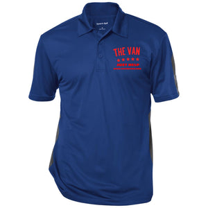 The Van Red Logo ST695 Performance Textured Three-Button Polo