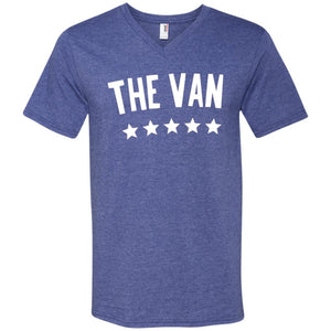 The Van White Logo 982 Men's Printed V-Neck T-Shirt