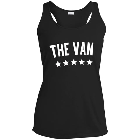 The Van White Logo LST356 Ladies' Racerback Moisture Wicking Tank
