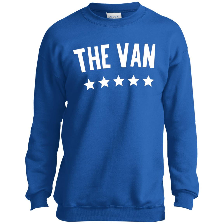The Van White Logo PC90Y Youth Crewneck Sweatshirt (White)