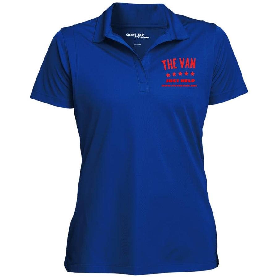 The Van Red Logo LST650 Women's Micropique Tag-Free Flat-Knit Collar Polo