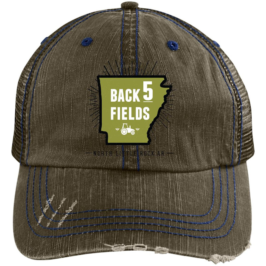 Back 5 Logo - PNG 6990 Distressed Unstructured Trucker Cap